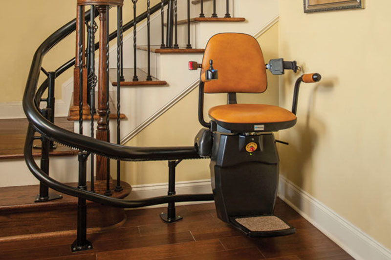 Curved Stair Stairlift with leather seats